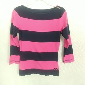 Tory Burch 3/4 Sleeve Hot pink & Midnight blue top